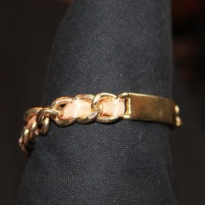 Jewelry - ID style bracelet with woven ribbon